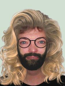 Picture of Kay with added facial hair, glasses and heavy wig