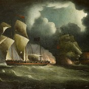 "Thomas Buttersworth, ""A Royal Navy brig chasing and engaging a well-armed pirate lugger"""