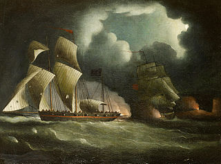 """Thomas Buttersworth, """"A Royal Navy brig chasing and engaging a well-armed pirate lugger"""""""