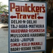 Sign outside Panicker's Travel agency in Delhi