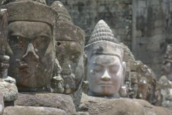 Gate guard statues at Angkor Thom South Gate