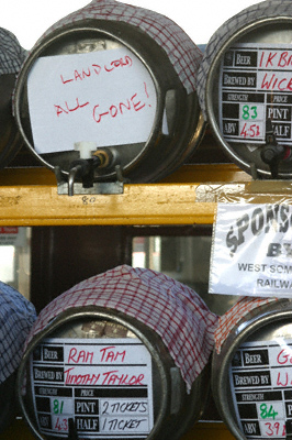 Beer barrels on a rack