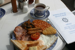 The excellent breakfast from the Wheelhouse Snack Bar in Minehead, Somerset