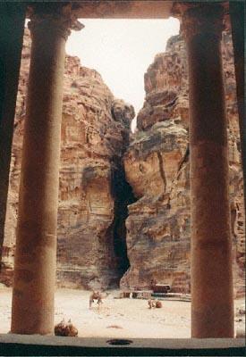 Petra, Jordan: View from the Treasury towards the siq