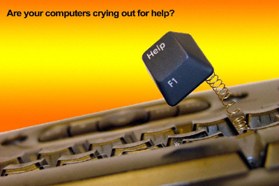 "A ""help"" key springs desperately from a computer keyboard"