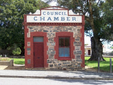 A tiny one-room council chamber building in South Australia
