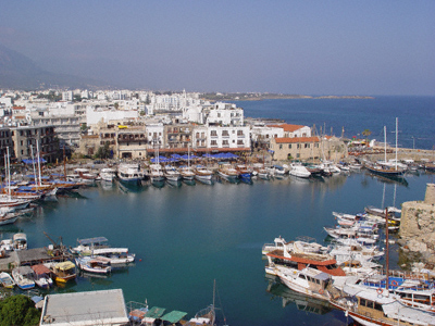 Kyrenia harbour on the northern coast of the island of Cyprus