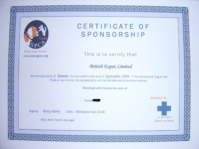 British Expat's sponsorship certificate for Dennis the dog