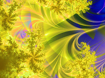 Fractal image, mostly in blue and yellow