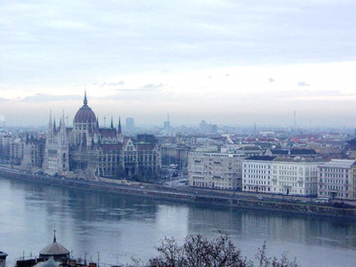 The Országház - Hungary's Parliament - on the banks of the Danube in Budapest