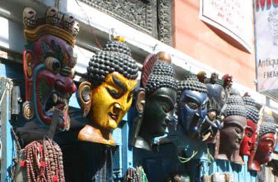 Masks of Hindu gods and demons