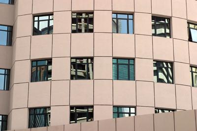 Strange reflections in mirrored windows on a Kuala Lumpur office block