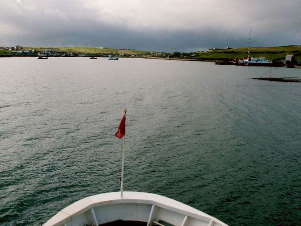 View from a ferry approaching St Margaret's Hope, Orkney