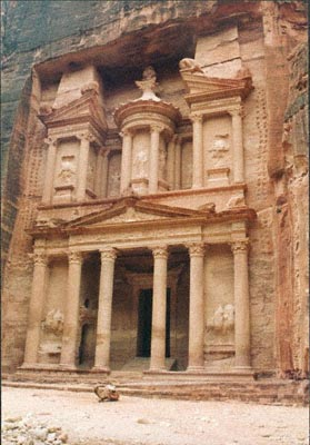 Facade of the Treasury at Petra in Jordan