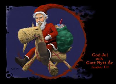 Santa on a straw reindeer