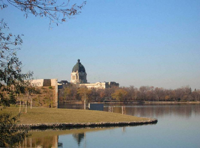 Saskatchewan Legislative Building, Regina, across Wascana Lake