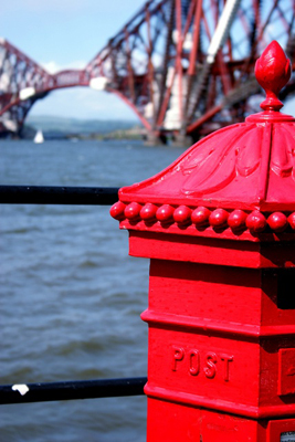 A Victorian pillar box and the Forth Rail Bridge