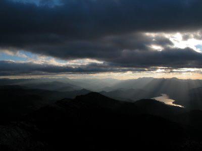 View of stormclouds over Spain's Sierras de Cazorla, Segura y Las Villas from El Yelmo