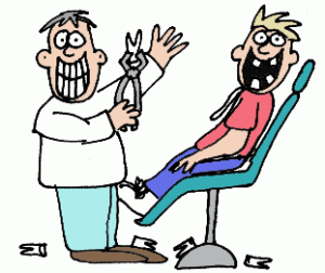 Cartoon of a dentist and a patient in the chair, both grinning, with several extracted teeth on the floor
