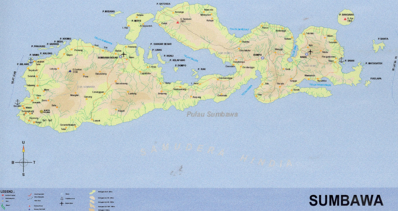 Map of Sumbawa, Indonesia