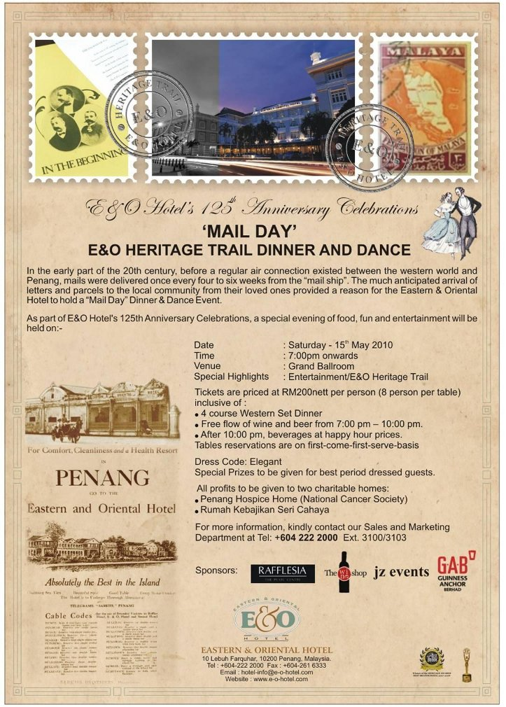 """Flyer for the """"Mail Day"""" event at the E & O Hotel in Penang, 15 May 2010"""