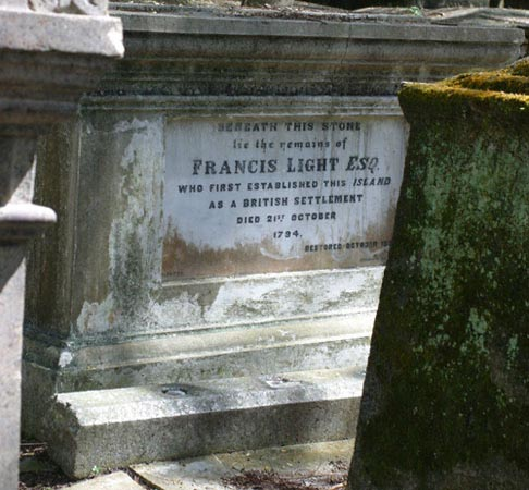 Francis Light's grave in the Christian cemetery in Georgetown, Penang