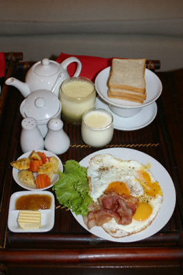 An unpleasant, overpriced breakfast from the Bougainvillier Hotel in Phnom Penh