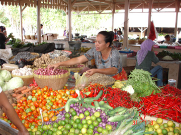 Fruit stall at Maluk Market on the island of Sumbawa in Indonesia