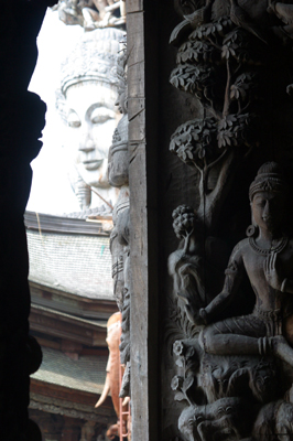Brahma seen through an archway at the Sanctuary of Truth, Thailand