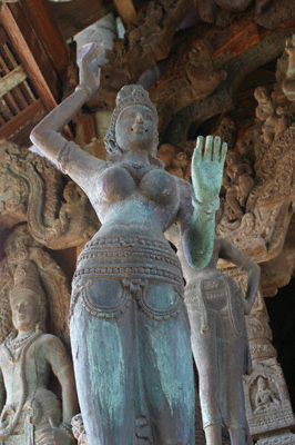 A Hindu goddess, carved in wood, at the Sanctuary of Truth in Thailand