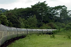 The Eastern & Orient Express passing through the South East Asian countryside