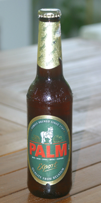 A bottle of Palm Export beer