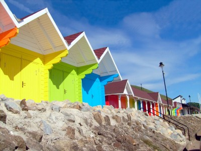 Beach huts on the North Beach at Scarborough, North Yorkshire