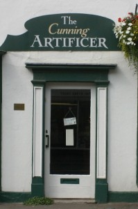 Door of The Cunning Artificer Discworld emporium in Wincanton, Somerset