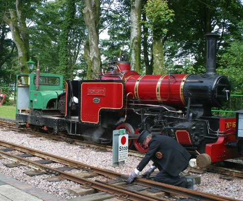 Locomotive at the Lynton and Barnstaple Railway station and yard at Woody Bay in Somerset