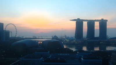 View of Singapore's Marina Bay at sunrise