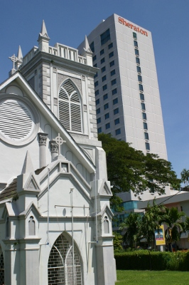 Wesley Methodist Church and Sheraton Hotel in George Town, Penang