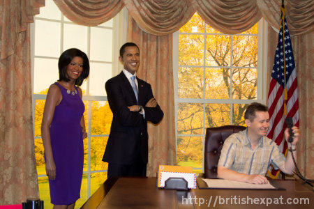 Waxworks of the Obamas in a mock-up of the Oval Office at Madame Tussauds in Bangkok