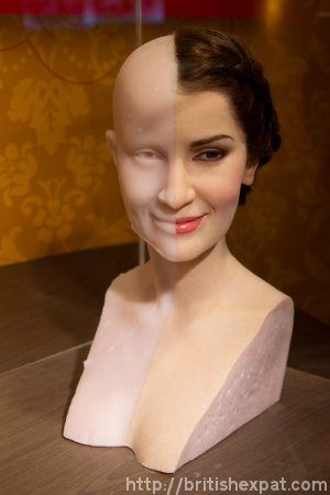 A half-and-half model shows a basic wax mould and the finished waxwork