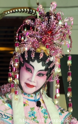 An elaborately adorned Cantonese opera singer