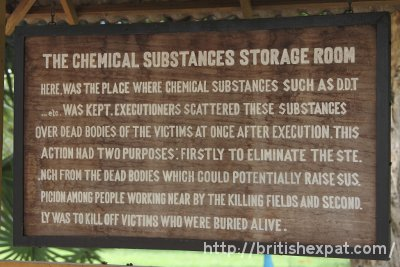 Sign describing the chemical substances store room at Choeung Ek killing field