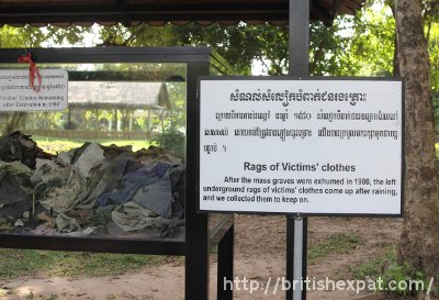 Tatters of clothing worn by the victims at Choeung Ek killing field