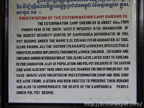 Information sign at the Choeung Ek genocide museum