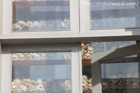 Some of the 8,000-plus skulls inside the stupa at Choeung Ek