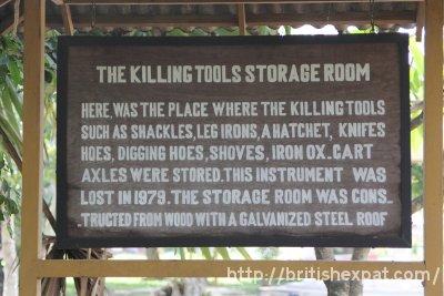 Sign describing the killing tools store room at Choeung Ek killing field