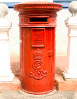 A pillar box in Malaysia bearing King Edward VII's monogram