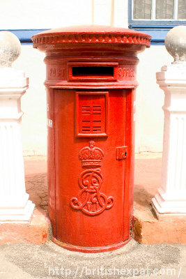 A pillar box in Penang bearing King Edward VII's monogram