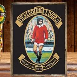 George Best on the namesign of The Pickled Liver, Bangkok