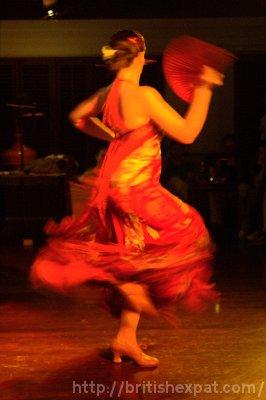 A flamenco dancer whirls mid-performance
