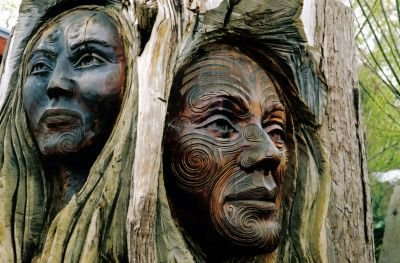 Faces carved into a tree trunk by a Maori artist